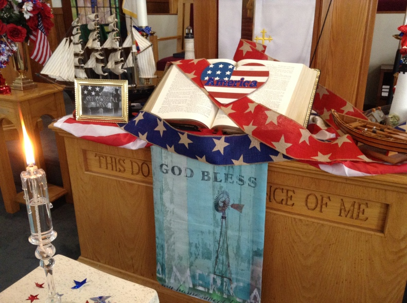 Altar decorated for Memorial Day